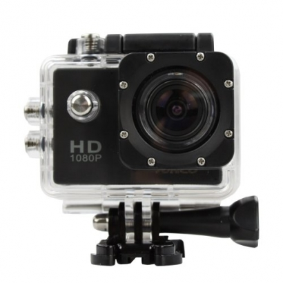 Action cam 1080p HD 12mp water proof 30m nero