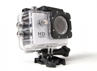 Action cam 1080p HD 12mp water proof 30m argento