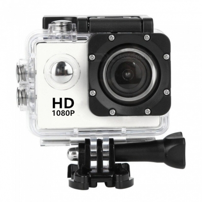 Action cam 1080p HD 12mp water proof 30m bianco
