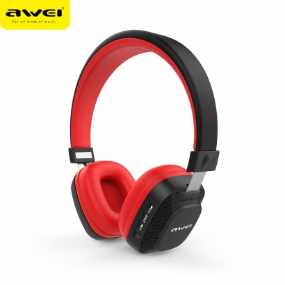 AWEI A760BL CUFFIE BLUETOOTH COLORFUL LED LIGHT ROSSO-NERO