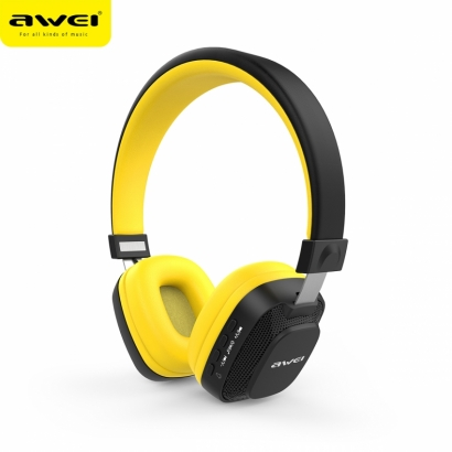 AWEI A760BL CUFFIE BLUETOOTH COLORFUL LED LIGHT GIALLO-NERO