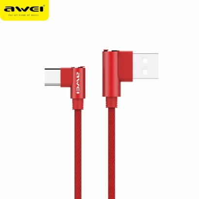AWEI CL-35 L TYPE DATA CABLE 1500MM TYPE C ROSSO