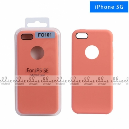 Ellie FO101 custodia cover in silicone con cerchio per logo per Iphone 5g corallo