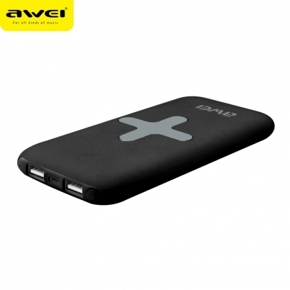Awei p98k powerbank con ricarica wireless, 2 usb, 7000mAh