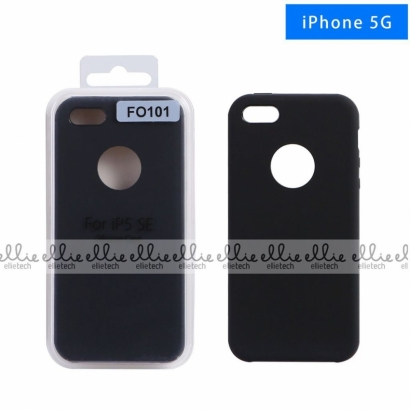 Ellie FO101 custodia cover in silicone con cerchio per logo per Iphone 5g nero