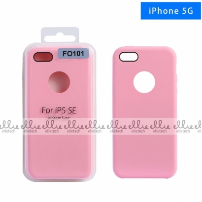 Ellie FO101 custodia cover in silicone con cerchio per logo per Iphone 5g rosa