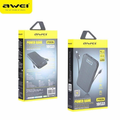 Awei p80k powerbank 3in1 con display led, 2.4a,  10000mAh
