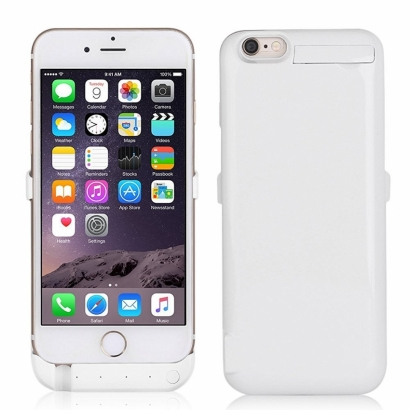 Custodia cover powerbank con batteria per Iphone 6 plus 3800mAh bianco