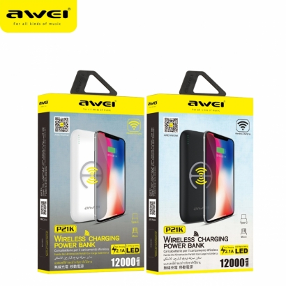 Awei p21k powerbank wireless 12000mAh