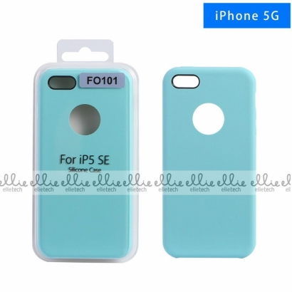 Ellie FO101 custodia cover in silicone con cerchio per logo per Iphone 5g acquamarine