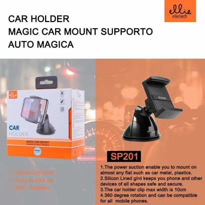 Ellie SP201 supporto auto magica 360 gradi nero