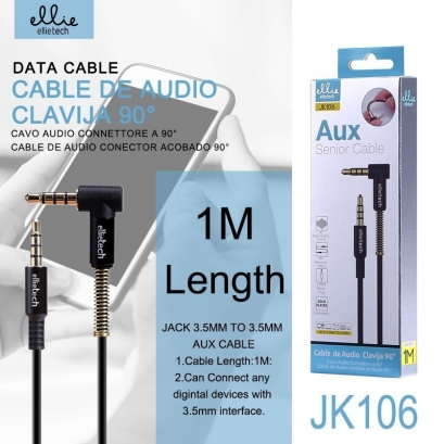 ELLIE JK106 Nero Cavo 1m Jack to Jack 3.5mm