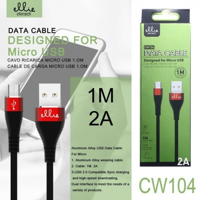 Ellie CW104 cavo microusb in nylon, 2a, 1m