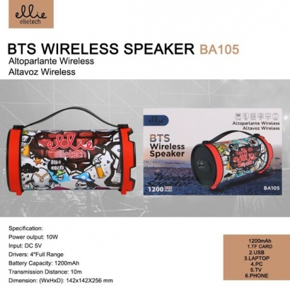 Ellie BA105 Altoparlante Portatile Bluetooth + sd + fm, 1200mAh, Graffiti