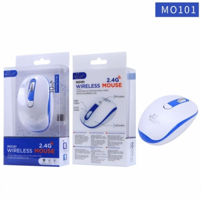 Ellie MO101 Mouse ottico senza fili wireless, 2.4G, 1600dpi, Blu