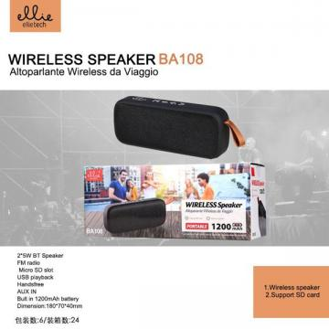 Ellie BA108 altoparlante wireless portatile 2*5w speaker, 1200mAh