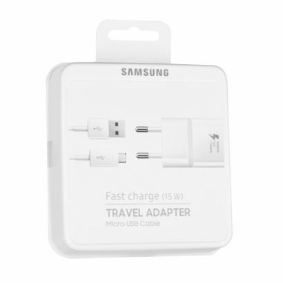Samsung alimentatore + cavo microusb, fast charge, 15w, 2a, 1.2m, blister