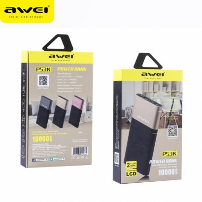 Awei p53k powerbank, 2usb, 10000mAh