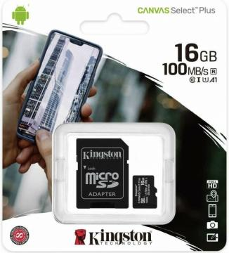 Kingston canvas select plus Micro 16gb SDCS2 classe 10 Uhs-i Adattatore