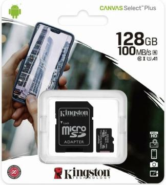 Kingston canvas select plus Micro 128gb SDCS2 classe 10 Uhs-i Adattatore