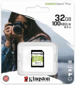 Kingston canvas select plus sd card 100mb/s 32gb