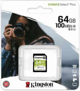 Kingston canvas select plus sd card 100mb/s  64gb