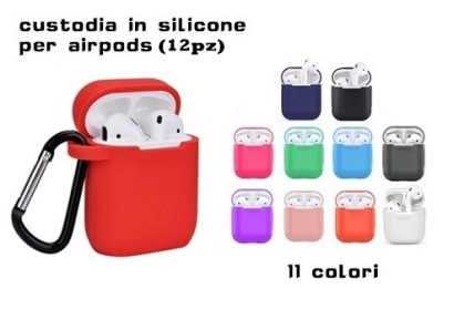Custodia airpods in silicone airpods carrying case 12pz colori misti (1,60€/pz)