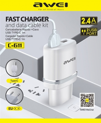 Awei C-611 Spina Carica Rapida + Cavo Type-c 1m, 2.4A, 2 usb