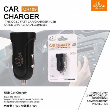 ELLIE CR109 CARICATORE PER AUTO QC 3.0 ,1 USB