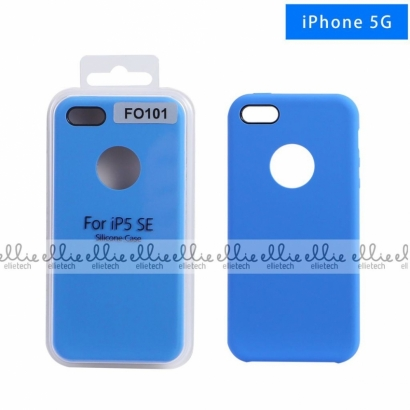 Ellie FO101 custodia cover in silicone con cerchio per logo per Iphone 5g blu
