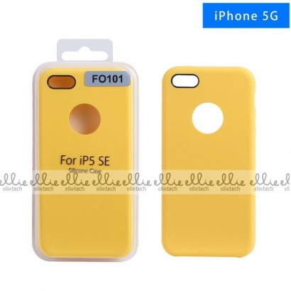 Ellie FO101 custodia cover in silicone con cerchio per logo per Iphone 5g giallo