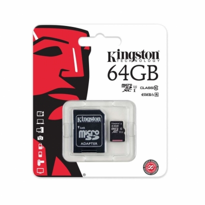Kingston memoria card microsd class 10 64GB