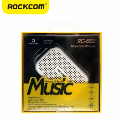 Rockcom rc-bs1 mini cassa audio bluetooth resistente all'acqua bianco