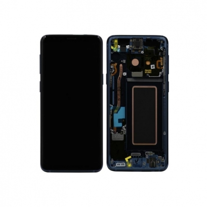 Display lcd + touch completo con frame per Samsung Galaxy s9 / gh97-21696d Blue