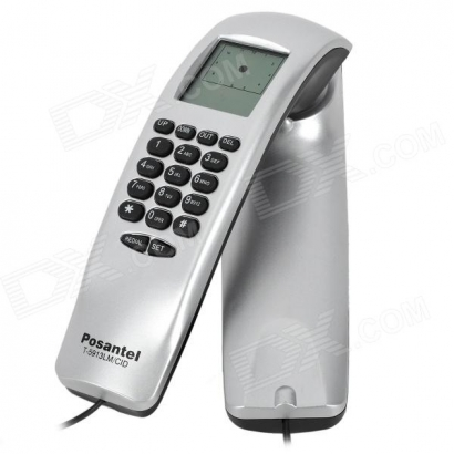 "POSANTEL T-5913LM/CID TELEFONE Stylish, 2.0"" LCD, Hook Wall, Caller ID Display Silver"